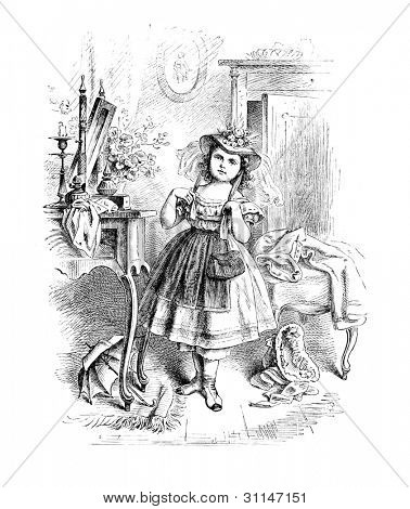 """Vain Lizzie""  - engraving by Oscar Pletsch. Published in �?�«Little Folks�?�» book, London, 1865"