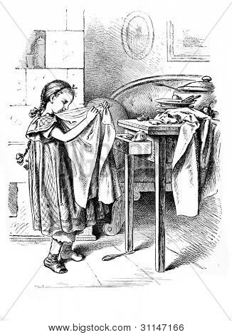 """The little housewife""- engraving by Oscar Pletsch. Published in �?�«Little Folks�?�» book, London, 1865"