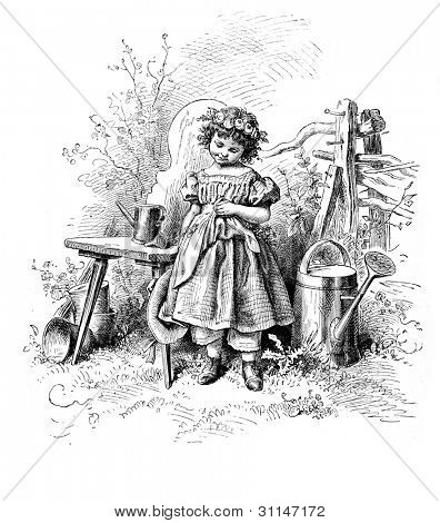 """Shyness"" - engraving by Oscar Pletsch. Published in �?�«Little Folks�?�» book, London, 1865"
