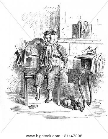 """Spoilt"" - engraving by Oscar Pletsch. Published in �?�«Little Folks�?�» book, London, 1865"
