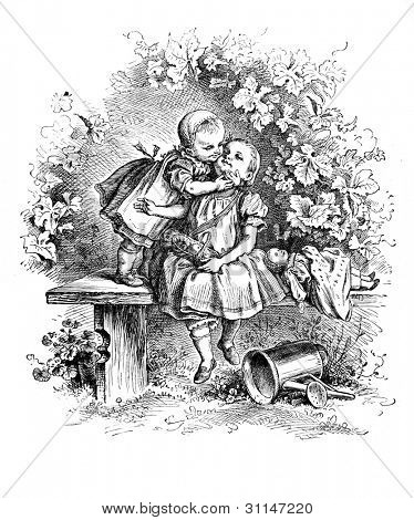 """Loving"" - engraving by Oscar Pletsch. Published in �?�«Little Folks�?�» book, London, 1865"