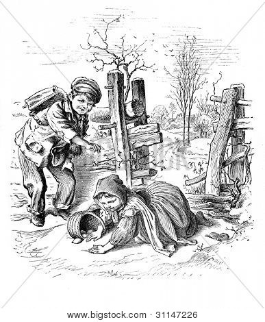 """Mischievous"" - engraving by Oscar Pletsch. Published in �?�«Little Folks�?�» book, London, 1865"