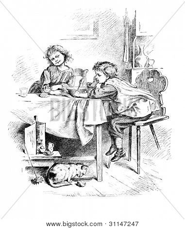 """Not hungry"" - engraving by Oscar Pletsch. Published in �?�«Little Folks�?�» book, London, 1865"