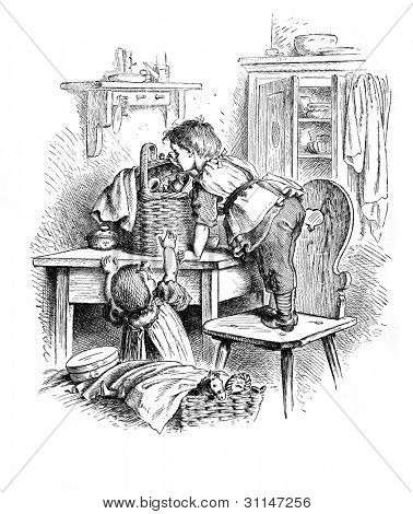 """Curiosity"" - engraving by Oscar Pletsch. Published in �?�«Little Folks�?�» book, London, 1865"