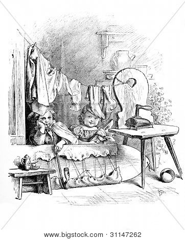 """Making believe"" - engraving by Oscar Pletsch. Published in �?�«Little Folks�?�» book, London, 1865"