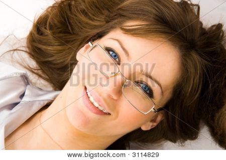 Close-Up. The Young Business Woman Smile