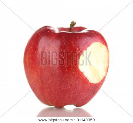 Red bitten apple isolated on white
