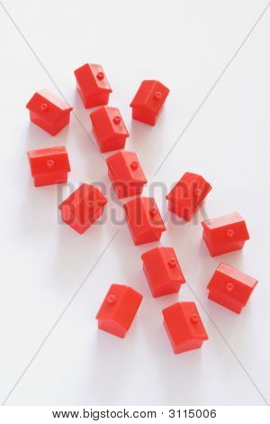Dollar Sign Made Up Of Red Houses