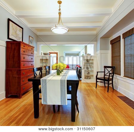 Dining Room Interior With Large Black Table.