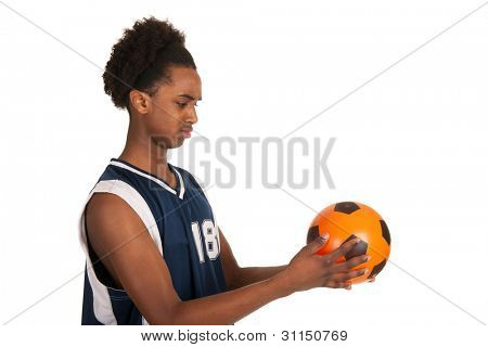Black basketball playerwith ball