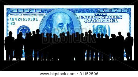 hundred dollar background and business people silhouette