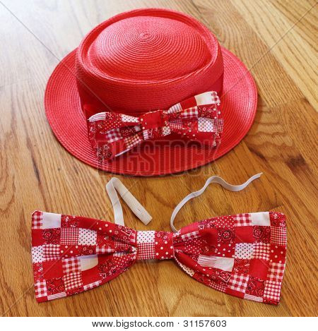 Red bow tie and hat