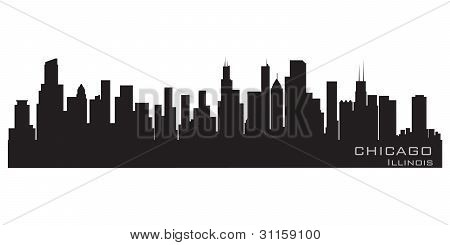 Chicago, Illinois Skyline. Detailed Vector Silhouette