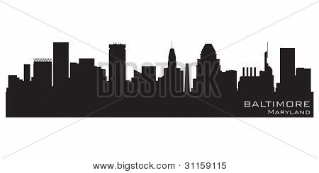 Baltimore, Maryland Skyline. detaillierte Vector silhouette