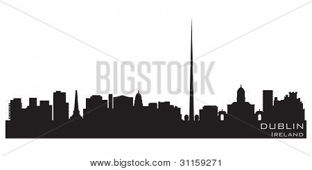 Dublin, Ireland Skyline. Detailed Vector Silhouette