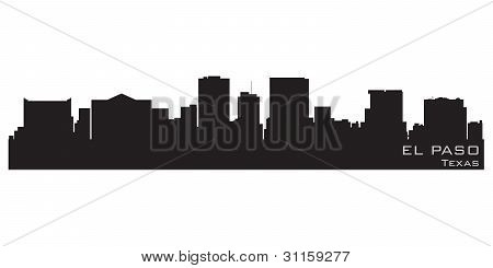 El Paso, Texas Skyline. Detailed Vector Silhouette