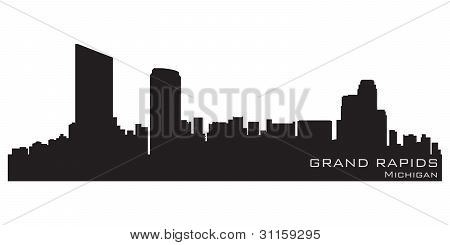 Horizonte de Grand Rapids, Michigan. Detallado Vector silueta