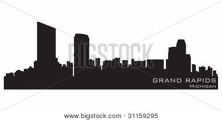 Horizonte de Grand Rapids, Michigan. Detallado Vector silueta