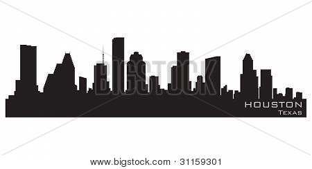 Skyline de Houston, Texas. Vector detalhadas Silhouette