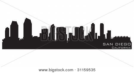 San Diego, California Skyline. Detailed Vector Silhouette