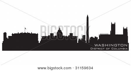Skyline de Washington, distrito de Columbia. Vector detalhadas Silhouette