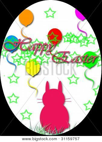 Happy Easter with bunnies and balloons