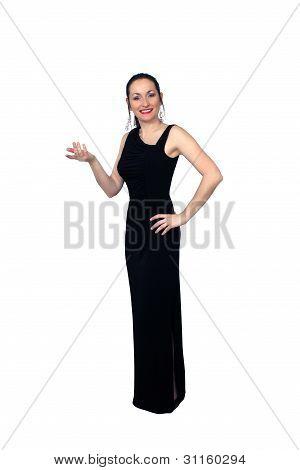 Beautiful Brunette Wearing A Long Black Dress (4)