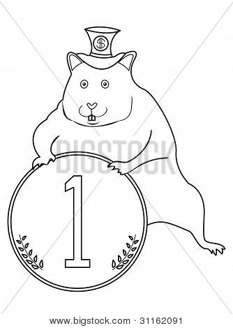 Hamster with a coin, black and white