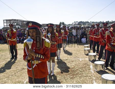 Female Baton Bearers From The Ethiopian Ceremonial Marching Band