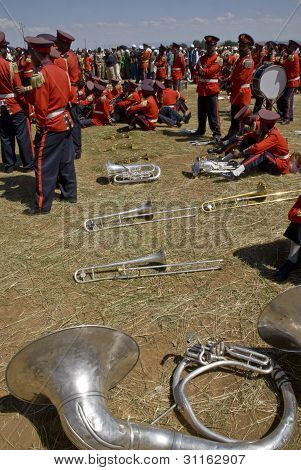 Ceremonial Marching band marching at the 20th World Aids Day Event