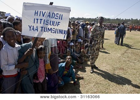 Children Holding An Hiv Banner At The World Aids Day Event In Fitche