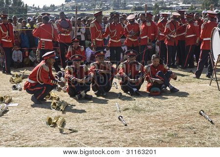 Members Of The Marching Band Relax Before The Start World Aids Day Event In Fitche