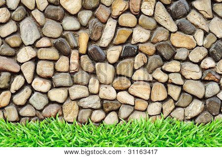 Grass Frame On Rock Wall