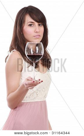 Young woman with red wineglass