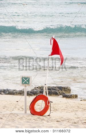 Dangerous Surf Warning On Beach