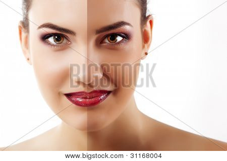 portrait of tanned beauty young woman with beautiful makeup looking at camera and smiling isolated on white background