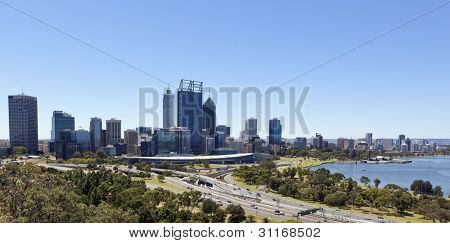 Perth, Western Australia, viewed from King's Park on a clear blue day.