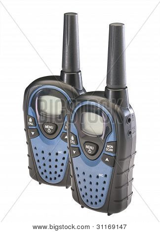 Two walkie talkies, isolated