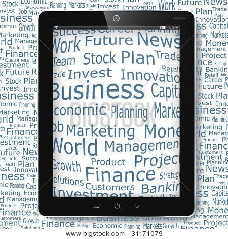 Business and financial words on tablet pc display. Vector eps10 illustration