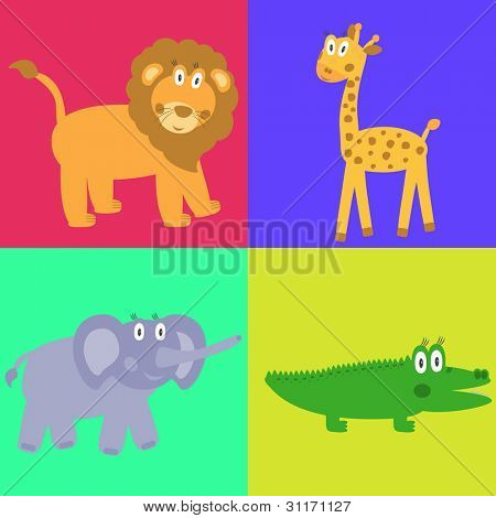 Cute safari cartoon animals set - lion, giraffe, crocodile and elephant. Vector eps10 illustration