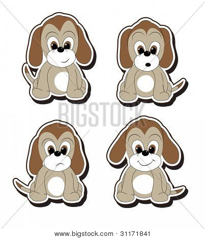 Stickers of cartoon puppies with various facial expressions.  EPS10 vector format