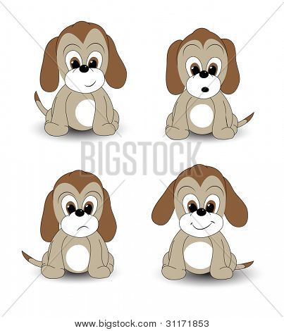 Cartoon puppy with various facial expressions. EPS10 vector format