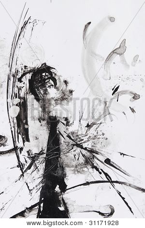 Black And White Abstract Brush Painting