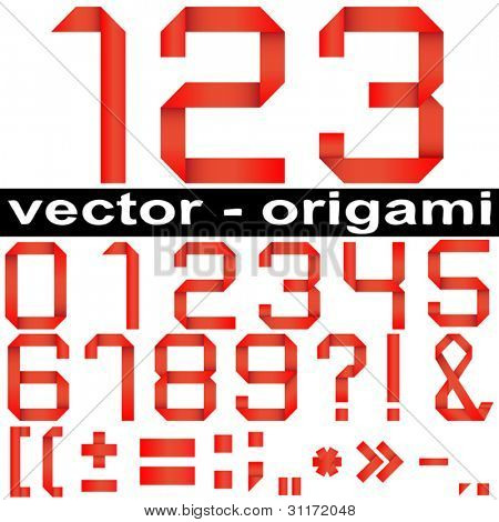 Vector concept or conceptual group,set or collection of red paper origami font isolated on white background,for art,decorative,decoration,school,education,children,craft,hand,ribbon,oriental or design