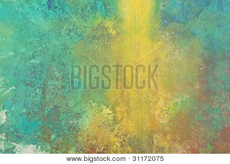 Green And Yellow Abstract Brush Painting