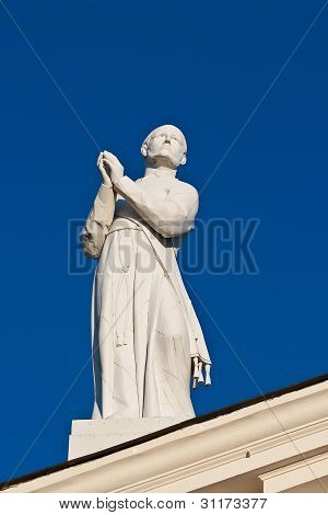 Estátua de St Stanislaus na Catedral. Vilnius. Lituânia.