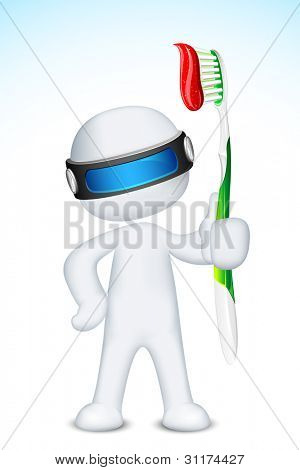 illustration of 3d doctor in vector fully scalable standing with tooth brush