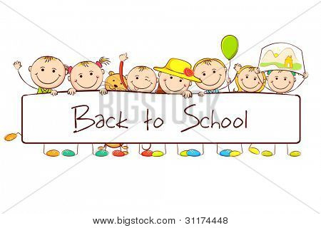 illustration of kids standing behind banner on white background