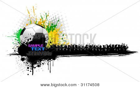 illustration of soccer ball on abstract grungy background with cheering crowd