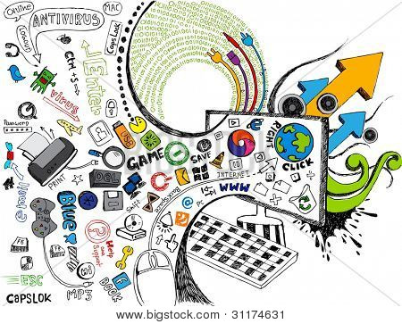 illustration of technology element coming out of computer monitor